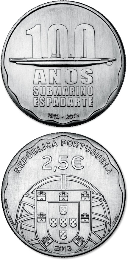 Image of 100th Anniversaro of the First Portuguese Submarine – ESPADARTE – 2.5 euro coin Portugal 2013.  The Silver coin is of Proof quality.