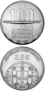 2.5 euro coin 100th Anniversaro of the First Portuguese Submarine – ESPADARTE | Portugal 2013