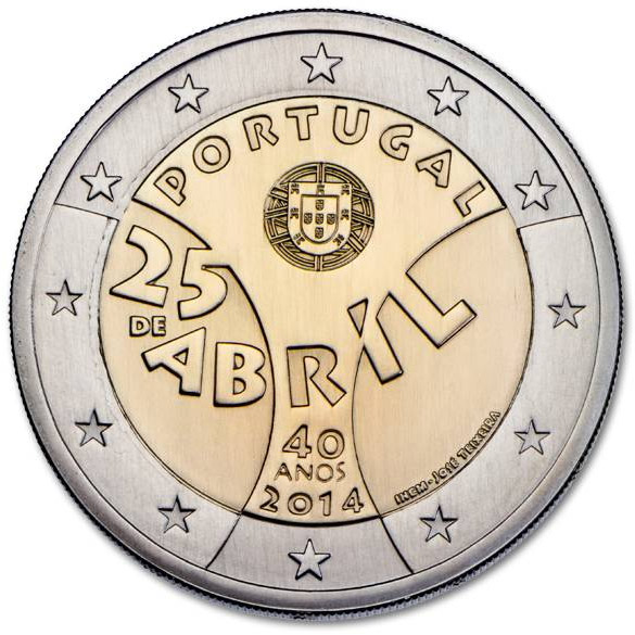 Image of 2 euro coin – 40th Anniversary of the Carnation Revolution | Portugal 2014