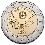 2 euro 40th Anniversary of the Carnation Revolution - 2014 - Series: Commemorative 2 euro coins - Portugal