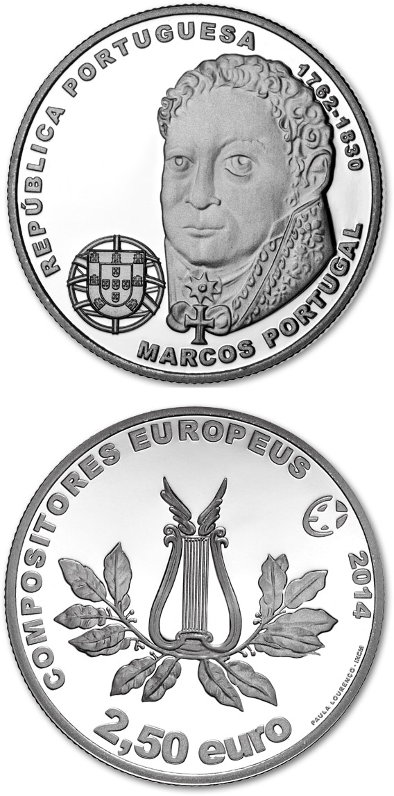 Image of 2.5 euro coin - Marcos Portugal | Portugal 2014.  The Silver coin is of Proof, BU, UNC quality.