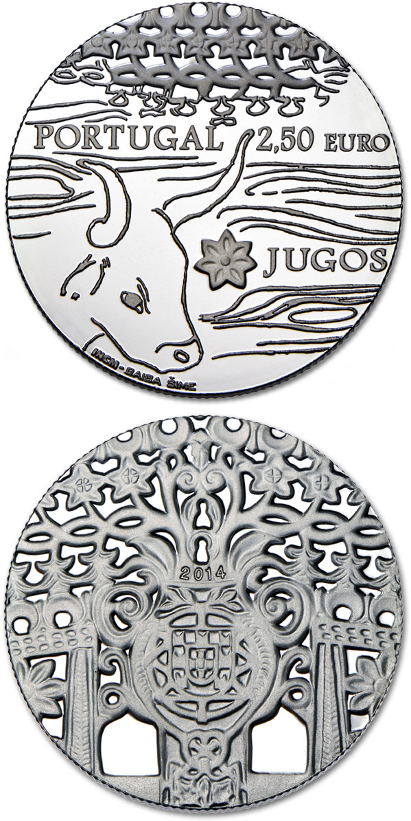 Image of 2.5 euro coin - Jugos (Cangas)  | Portugal 2014.  The Silver coin is of Proof quality.