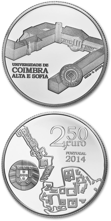 2.5 euro University of Coimbra – Alta and Sofia - 2014 - Series: UNESCO World Heritage Sites - Portugal