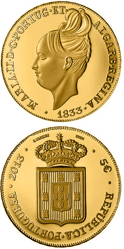 Image of 5 euro coin - Peça 1833 – Degolada, de D. Maria II | Portugal 2013.  The Gold coin is of Proof quality.