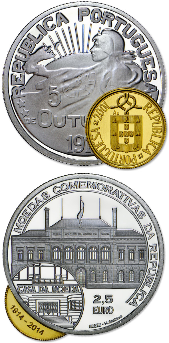 Image of 2.5 euro coin - 100 Years Portuguese Commemorative Coins | Portugal 2014.  The Silver coin is of Proof quality.