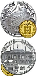 2.5 euro coin 100 Years Portuguese Commemorative Coins | Portugal 2014
