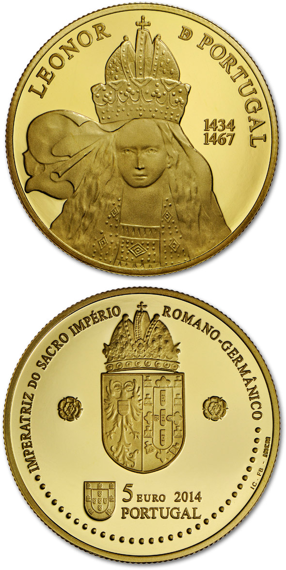 Image of 5 euro coin – D. Leonor of Portugal  | Portugal 2014.  The Gold coin is of Proof quality.