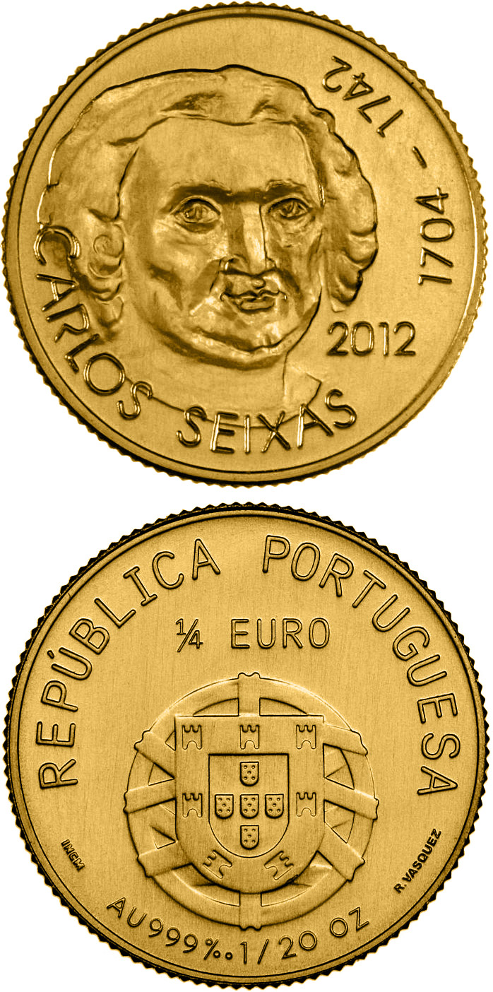 Image of 0.25 euro coin - José António Carlos de Seixas | Portugal 2012.  The Gold coin is of BU quality.