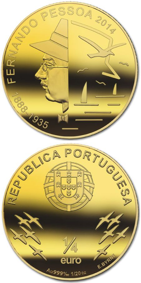 Image of 0.25 euro coin - Fernando António Nogueira Pessoa | Portugal 2014.  The Gold coin is of BU quality.