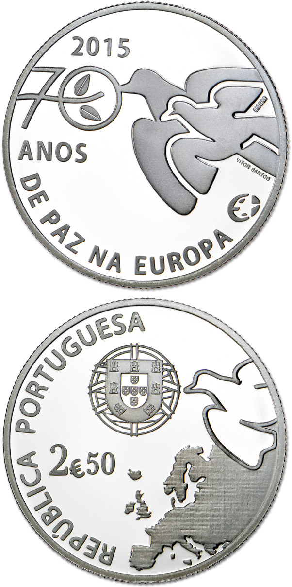 Image of 2.5 euro coin – 70 Years of Peace in Europe | Portugal 2015.  The Silver coin is of Proof, BU, UNC quality.