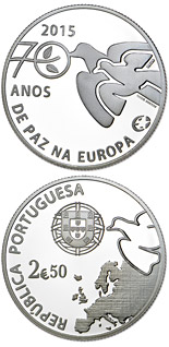 2.5 euro coin 70 Years of Peace in Europe | Portugal 2015