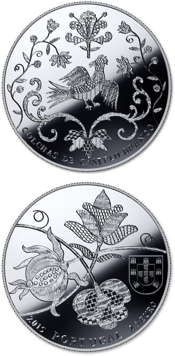 Image of 2.5 euro coin - The Bedspreads of Castelo Branco | Portugal 2015.  The Silver coin is of Proof quality.