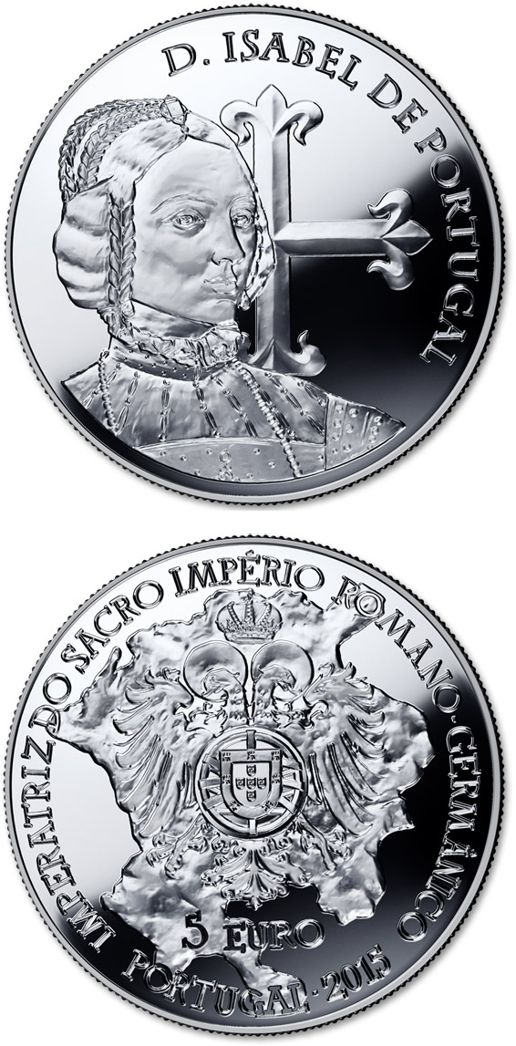 Image of 5 euro coin - D. Isabel de Portugal | Portugal 2015.  The Silver coin is of Proof, UNC quality.