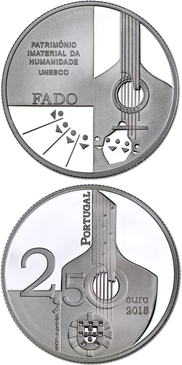 Image of O Fado – 2.5 euro coin Portugal 2015.  The Silver coin is of Proof, BU, UNC quality.