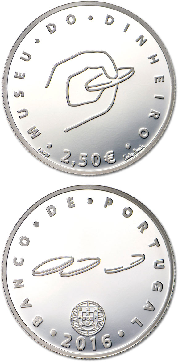 Image of Money Museum  – 2.5 euro coin Portugal 2016.  The Silver coin is of Proof, BU, UNC quality.