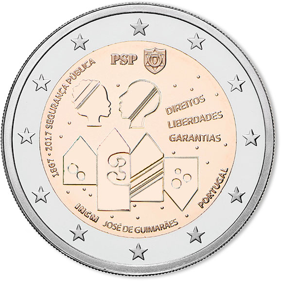 Image of 2 euro coin – 150 Years of Public Security | Portugal 2017