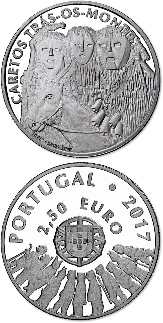 Image of 2.5 euro coin - Masks from Trás-os-Montes | Portugal 2017.  The Silver coin is of Proof quality.