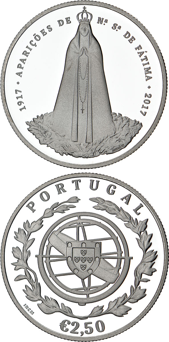 Image of 100 Years of Fatima – 2.5 euro coin Portugal 2017.  The Silver coin is of Proof, BU, UNC quality.