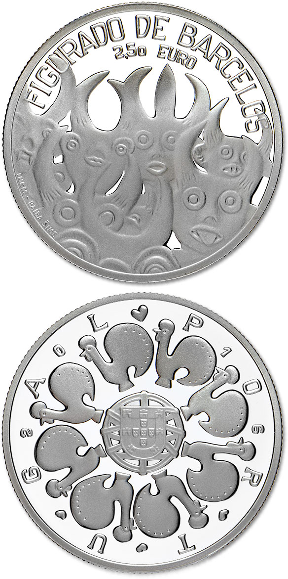 Image of 2.5 euro coin - Barcelos Ceramic | Portugal 2016.  The Silver coin is of Proof quality.