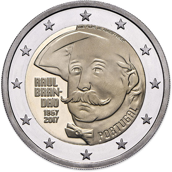 Image of 2 euro coin – 150 Years of Raul Brandão | Portugal 2017