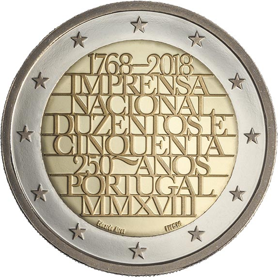 Image of a coin 2 euro | Portugal | 250th Anniversary of the National Printing House | 2018