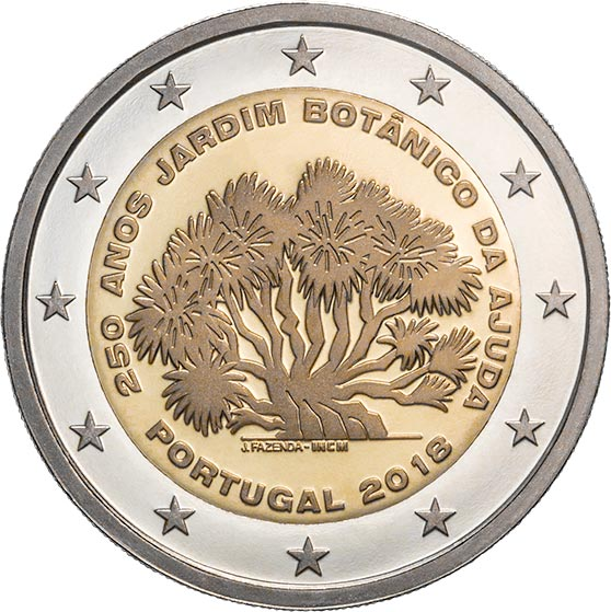 Image of 2 euro coin - 250th Anniversary of the Ajuda Botanical Garden | Portugal 2018
