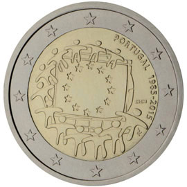 Image of 2 euro coin - The 30th anniversary of the EU flag | Portugal 2015
