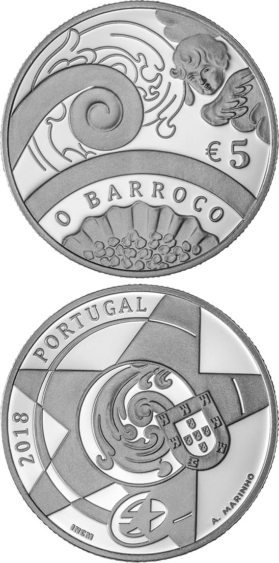 Image of 5 euro coin – The Baroque Age | Portugal 2018