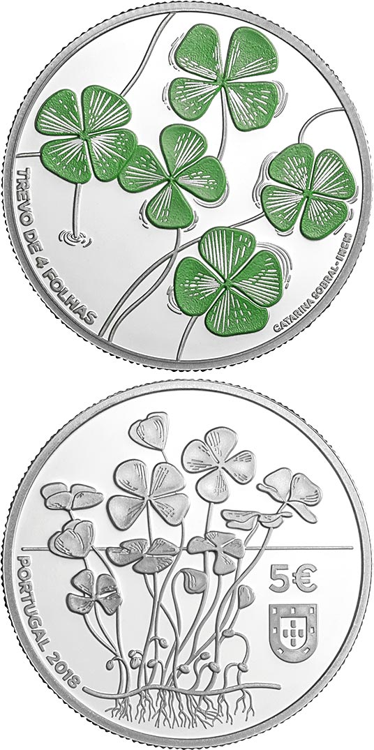 Image of 5 euro coin - The Four Leaf Clover | Portugal 2018
