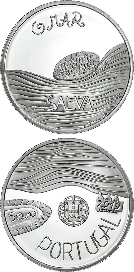 Image of 5 euro coin - The Sea Drawn by a Child | Portugal 2019