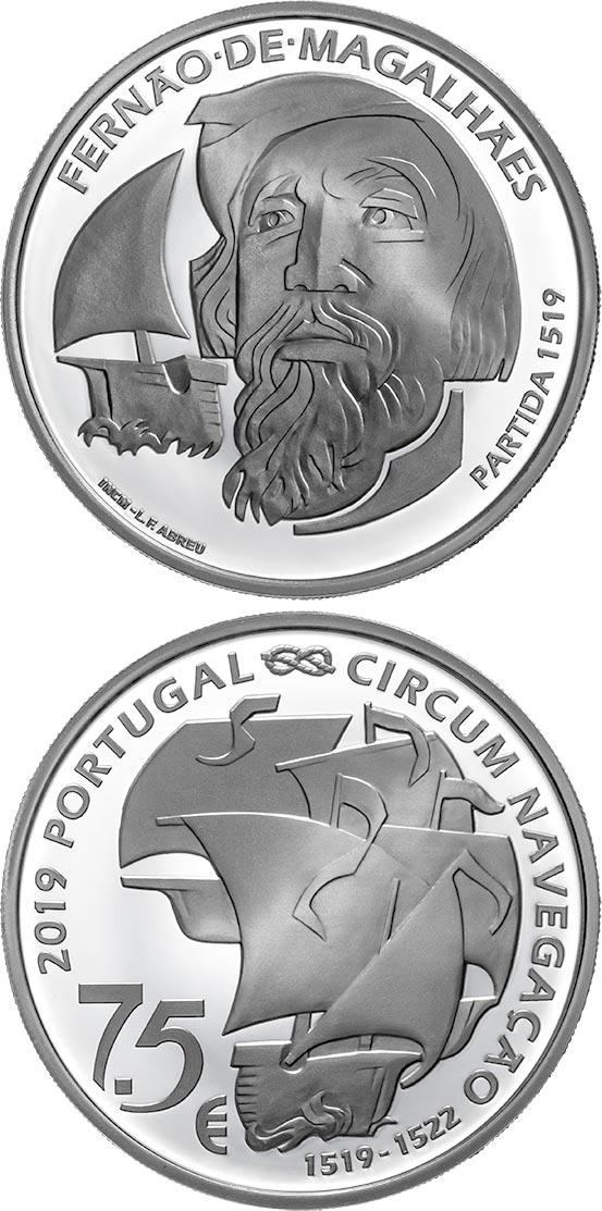 PORTUGAL 2019 7,50 EURO 500TH ANNIVERSARY OF MAGELLAN CIRCUN-NAVIGATION 1519