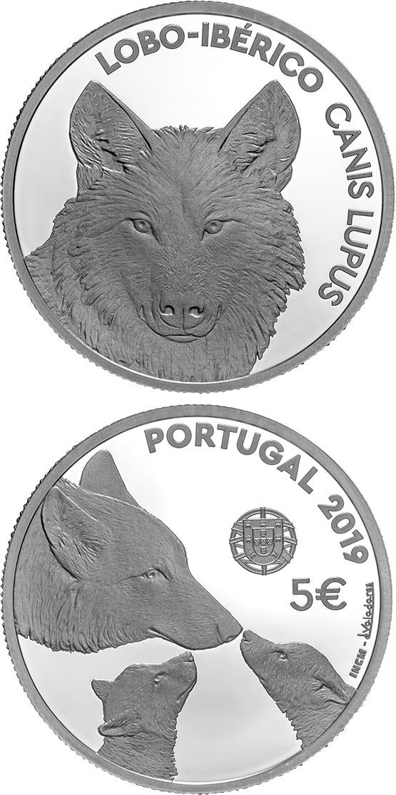Image of 5 euro coin - Endangered Fauna Species — The Iberian Wolf | Portugal 2019