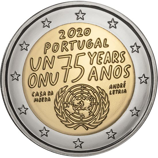 Image of 2 euro coin - 75 years United Nations | Portugal 2020
