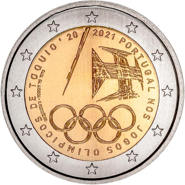 Image of 2 euro coin - The Summer Olympic Games 2021 | Portugal 2021