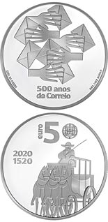 5 euro coin 500 Years of Portuguese Post Office | Portugal 2020