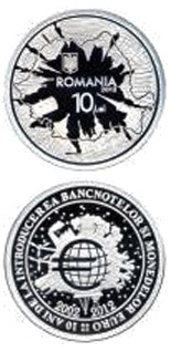 Image of 10 leu coin - The 10 year anniversary of the introduction of the euro banknotes and coins | Romania 2012.  The Silver coin is of Proof quality.
