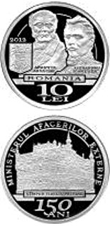 10 leu coin 150 years since the establishment of the Ministry of Foreign Affairs | Romania 2012