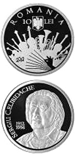 10 leu coin Sergiu Celibidache - 100 years since his birth | Romania 2012