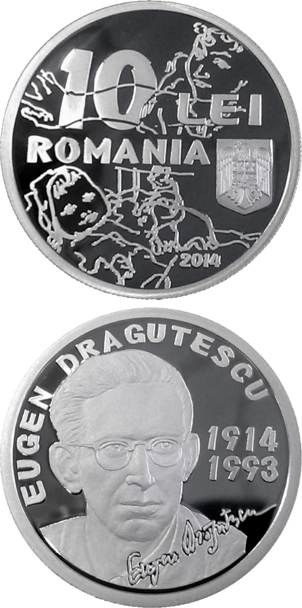 Image of 10 leu coin - 100 years since Eugen Drăguțescu's birth | Romania 2014.  The Silver coin is of Proof quality.