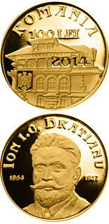 100 leu coin 150 years since the birth of Ion I. C. Brătianu | Romania 2014