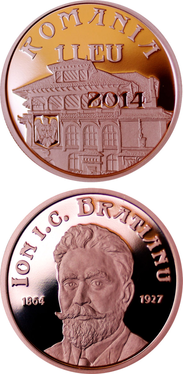 Image of 150 years since the birth of Ion I. C. Brătianu – 1 leu coin Romania 2014.  The Copper coin is of Proof quality.