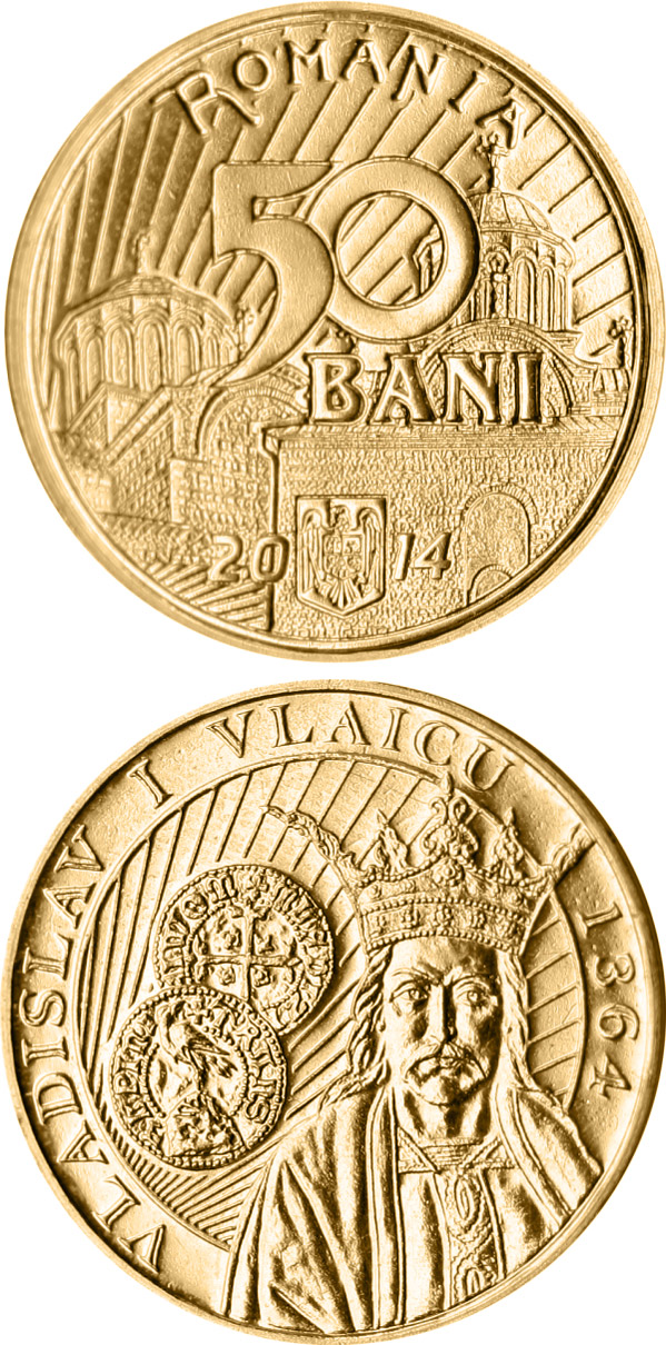 Image of 50 bani coin - 650th anniversary of the beginning of the reign of Vladislav I Vlaicu | Romania 2014.  The Bronze coin is of Proof, BU, UNC quality.