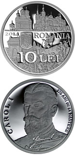 10 leu coin 175th anniversary of the birth of King Carol I of Romania | Romania 2014