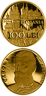 100 leu coin 175th anniversary of the birth of King Carol I of Romania | Romania 2014
