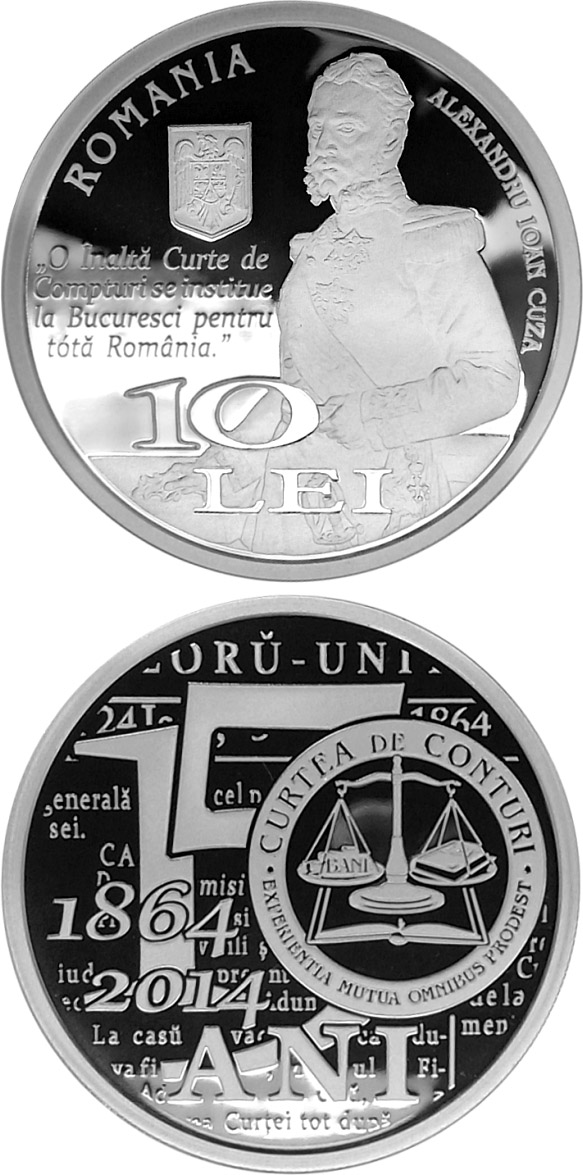 Image of 10 leu coin - 150th anniversary of the establishment of Romania's Court of Accounts | Romania 2014.  The Silver coin is of Proof quality.