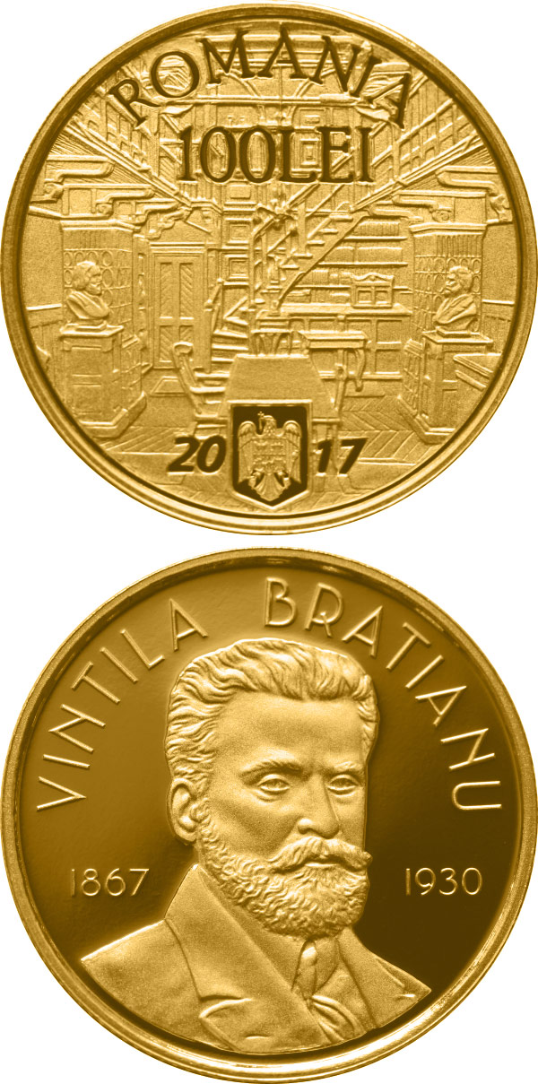 Image of 100 leu coin - 150 years since the birth of Vintilă I.C. Brătianu | Romania 2017.  The Gold coin is of Proof quality.