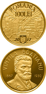 100 leu coin 150 years since the birth of Vintilă I.C. Brătianu | Romania 2017