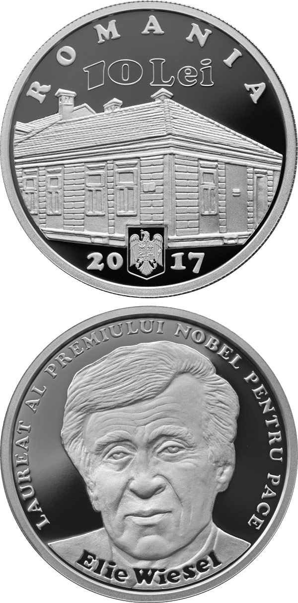 Image of 10 leu coin - Romanian-born Nobel Prize laureates – Elie Wiesel | Romania 2017.  The Silver coin is of Proof quality.