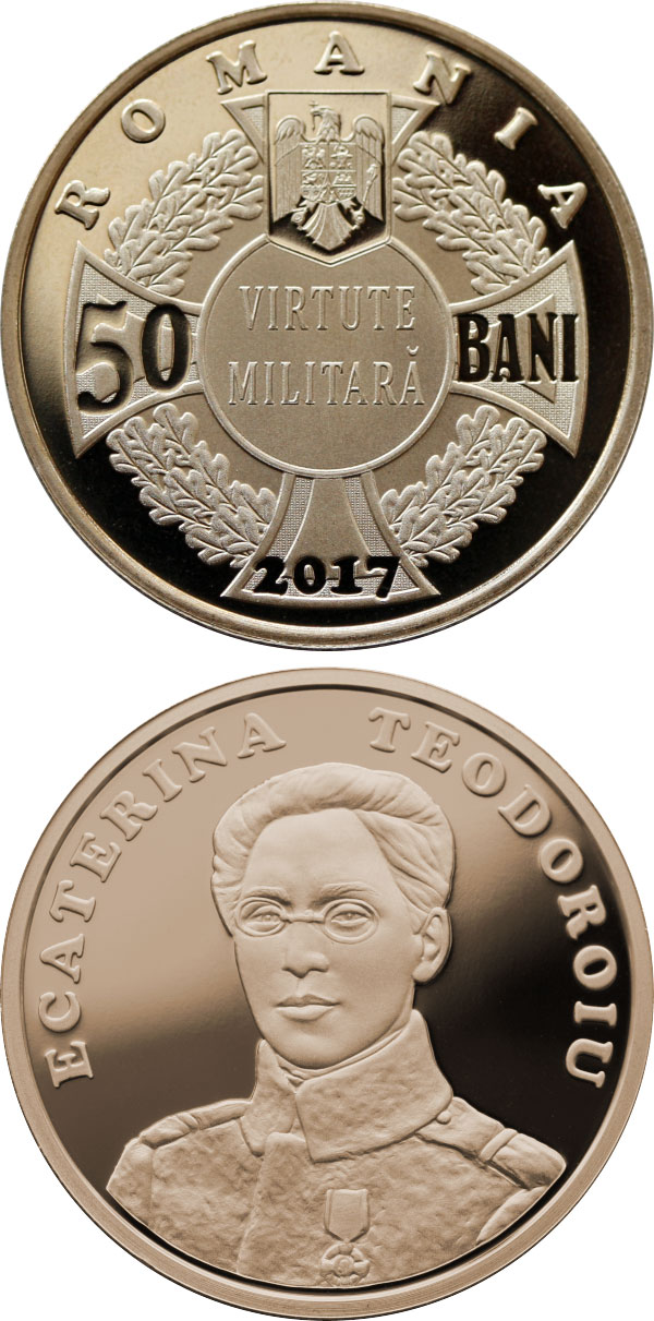 Image of 50 bani coin - 100 years since Ecaterina Teodoroiu became the first female combat officer of the Romanian Army | Romania 2017.  The Bronze coin is of Proof, BU, UNC quality.