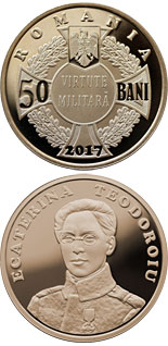 50 bani coin 100 years since Ecaterina Teodoroiu became the first female combat officer of the Romanian Army | Romania 2017